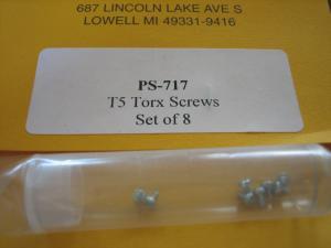 """Proslot viti T5 """"Torx"""" per testine e casse tipo C, 8 pezzi"""