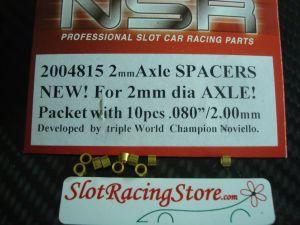 """NSR spessori per assali da 2mm, spessore: .080"""", ottone, 10 pezzi"""