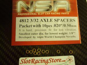 """NSR spessori per assali da 3/32"""", spessore: .020"""", 10 pezzi"""