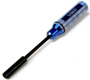 Scaleauto chiavino professionale M4,5 x 80 mm per dadi da 4,5 mm, impugnatura alluminio blu