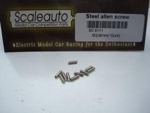 Scaleauto brugole in acciaio M2 x 6mm, 10 pezzi