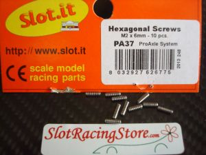 Slot.it grani tipo M2, lunghezza 6mm, per il set-up dell'assale anteriore, 10 pezzi