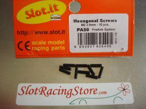 Slot.it grani tipo M2, lunghezza 8mm, per il set-up dell'assale anteriore, 10 pezzi