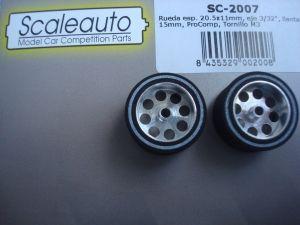 """Scaleauto ruote 1/32 ProComp per assali da 3/32"""", Diametro:20,5mm, larghezza: 11mm, diametro cerchio: 15mm"""