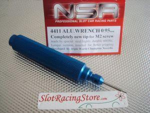 NSR chiavino in alluminio anodizzato blu con punta in acciaio da 0,95 mm, per brugole M2