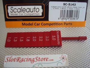 Scaleauto attrezzo per misurare assetto posteriore, valori: 1mm - 1,3mm - 1,5mm - 1,8mm - 2,0mm - 2,2mm - 3,0mm - 5,0mm