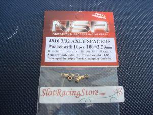 """NSR spessori per assali da 3/32"""", spessore: .100"""" (2,5mm) , 10 pezzi"""