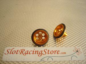 """JK ruote anteriori 5/8"""" (diametro 15,65mm) in alluminio anodizzato oro, con 6 fori"""