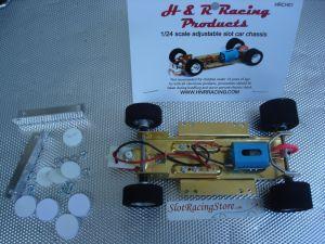 H & R 1/24 modello completo esclusa la carrozzeria, telaio regolabile, motore 40.000 RPM e ruote in spugna