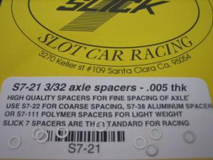"""Slick-7 spessori per assali da 3/32"""" da .005"""" in acciaio inossidabile"""