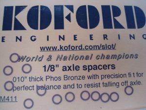 """Koford spessori da .010""""  per assali da 1/8"""""""