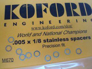 """Koford spessori da .005""""  per assali da 1/8"""""""