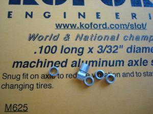"""Koford spessori assale 3/32"""" in alluminio da .100"""" (2,54mm), (6 per confezione)"""
