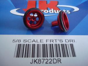 """JK ruote anteriori 5/8"""" (diametro 15,65mm) in alluminio anodizzato rosso, con 6 fori"""