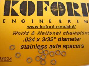 """Koford spessori assale 3/32"""" in alluminio da .024"""" (0,63mm), (12 per confezione)"""